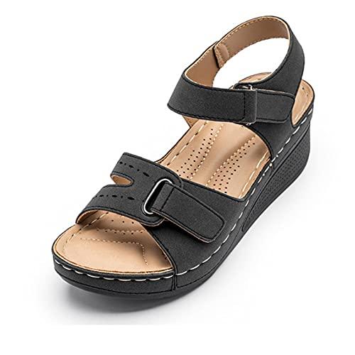 DZQQ 2021 été rétro Femmes Sandales Couture Femmes Chaussures compensées décontractées Femme Dame Boucle Sangle Crochet Boucle Plate-Forme Souple Sandales Femmes
