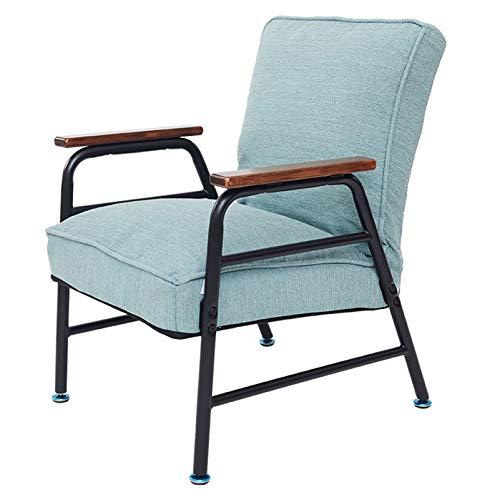 LINGZE Sillón reclinable, sillón reclinable de Tela de Lino, sillas con Respaldo Ajustable para Sala de Estar, Dormitorio, Oficina, sillón, Verde