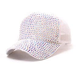 Multicolor Rhinestone Mesh Breathable Adjustable Sun Hat