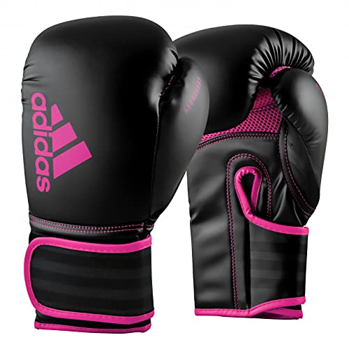 adidas Boxing Gloves - Hybrid 80 - for Boxing, Kickboxing, MMA, Bag, Training & Fitness - Boxing Gloves for Men & Women - Weight (12 oz, Black/Shock Pink)
