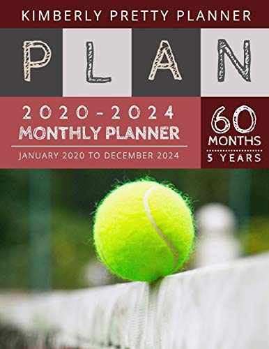 5 year monthly planner 2020-2024: five year planner 2020-2024 for planning short term to long term goals | easy to use and overview your plan | tennis balls design