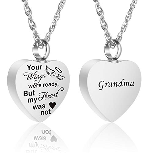 Urn Necklace for Ashes for Women for Grandma, Heart Cremation Jewelry for Human Ashes for My Grandma, Engraved 'Grandma, Your Wings were Ready My Heart was Not' Waterproof Ashes Keepsake Locket