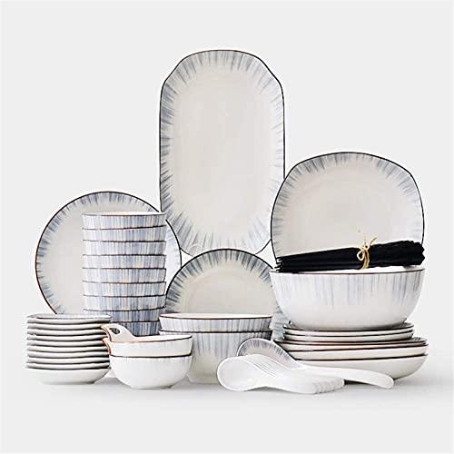 Juego de Platos, Servicio de juego de vajillas de cerámica de 56 piezas para 10, líneas minimalistas, líneas de vajilla, incluyendo placas / conjuntos de tazón, para una decoración para el hogar, coci
