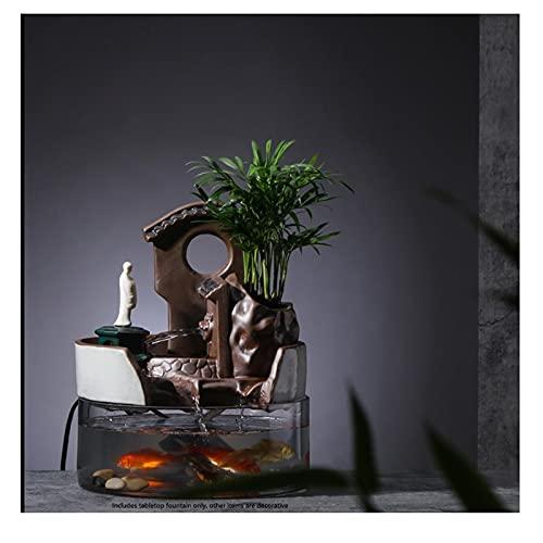 Fuentes Rockery Creativa Agua FUENTAÑA Adornos de Escritorio Adornos de jardín Fuente de Mesa de Mesa Interior Decoración de Oficina de la Oficina Interior Fuente Interior Jardin Zen (Color : C)