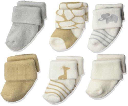 Luvable Friends Newborn Baby Terry Socks, 6 Pack, Safari, 0-3 Months