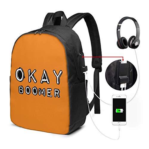 Ok Boomer Laptop Rucksack 17 Zoll mit USB-Ladeanschluss, für Frauen Männer Mode Schultasche