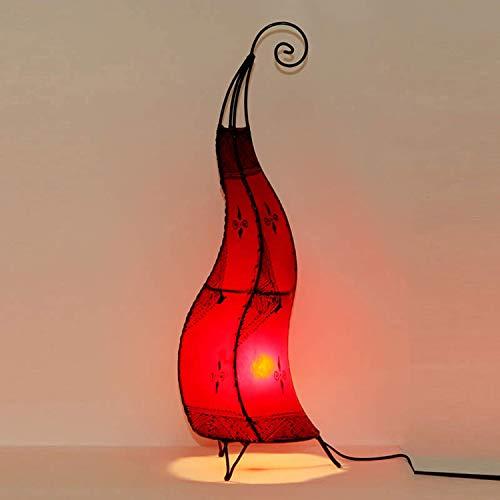 Orientalische Hennalampe marokkanische Stehlampe Hissan H80 cm Rot | Kunsthandwerk aus Marrakesch | Handbemalte Lederlampe handgefertigte Hennaleuchte aus echtem Leder | L1021