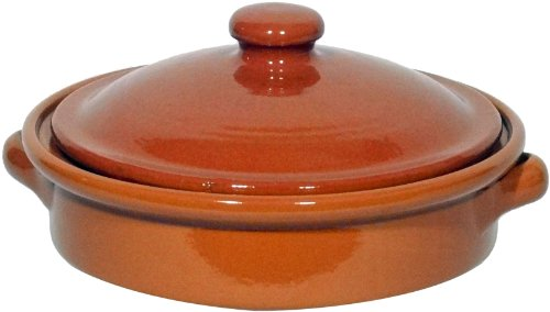 Amazing Cookware Piatto Tondo Natural Terracotta da 20 cm Completo di Coperchio