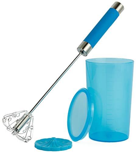 NOVA Quirl Schneebesen Milchaufschäumer manuell Handmixer Handrührer Küchengerät Edelstahl Silikon mit Messbecher 200ml Blau