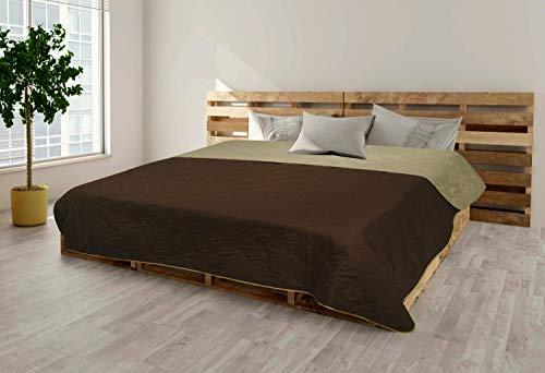 MB Warenhandel24 Tagesdecke XXL Allzweckdecke ca. 220x240 Patchwork Landhaus Sofa Bettüberwurf (Vintage Schokobraun)