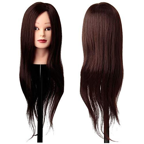 Übungskopf, Luckyfine 80% Echthaar Frisierkopf Modell, DIY Haar Design 22'' Braun Friseurkopf Langen Haaren Mannequin Ausbildung Kopf mit Halterung, Perfektes Geschenk