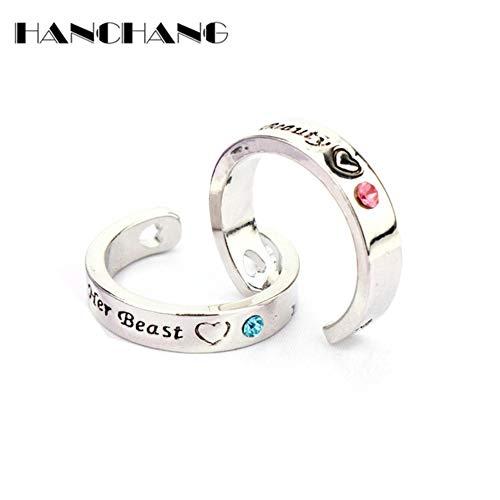 1 partij = 2 stks Ring Set voor Koppels Liefhebbers Zijn Schoonheid Haar Beest Opening Ring Wedding Engagement Sieraden bague femme