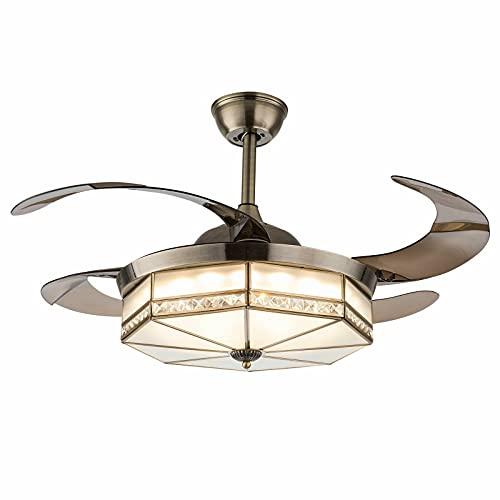 Ventilador de techo de 100 cm con iluminación, luz LED, mando a distancia, regulable