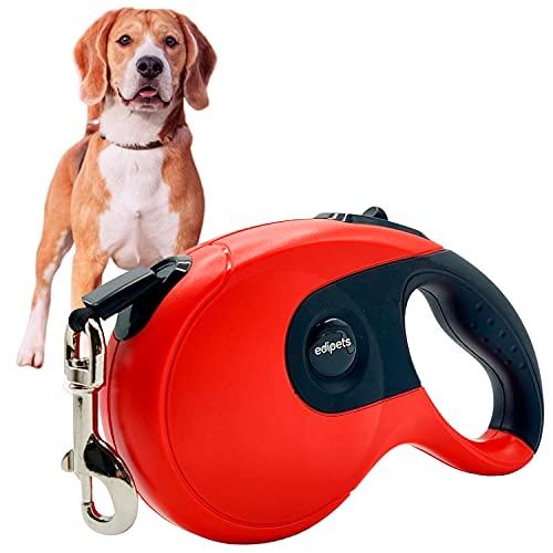 Edipets, Correa Perro Extensible / Retráctil, 3, 5 y 8 Metros, Cinta Flexible para Adiestramiento y Paseo, para Perros Pequeños, Medianos y Grandes (Rojo, 3 Metros)
