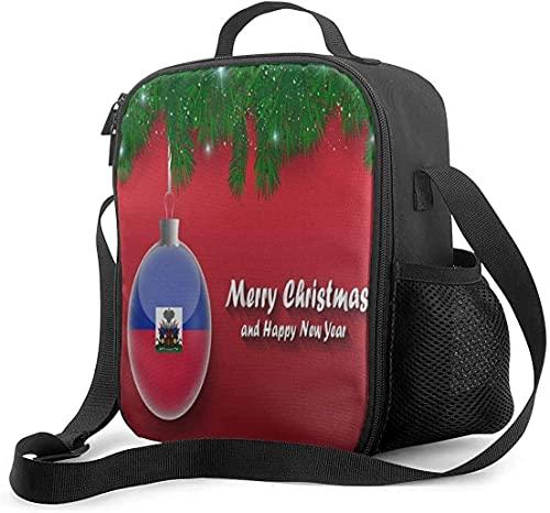 Lunch-Tasche mit Weihnachtsbaum-Ästen, Kugeln, Haiti-Flagge, wasserdicht, isoliert, Organizer, Boxen, auslaufsicher, für Familie, Outdoor, Camping, Reisen, Picknick