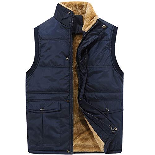 Flygo Herren Winter-warme außen Padded Puffer Vest Dicke Fleece-Futter Weste XX-Large Style 01 Blau