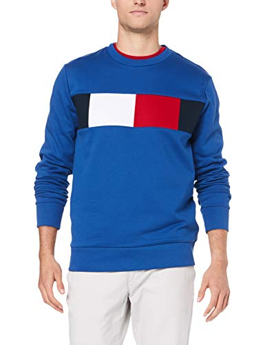 Tommy Hilfiger Herren Flag Chest Logo Sweatshirt, Blau (Blue Quartz 431), Large (Herstellergröße: L)