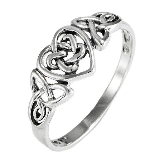 Moonlight Mysteries Silver Celtic Knot Triquetra Hidden Pentacle Heart Ring (sz 4-15) sz 6.5