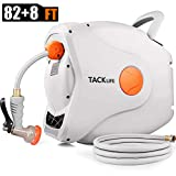 TACKLIFE 5/8'' Retractable Hose Reel,82+8 FT Hose, Wall Mounted Retractable Hose Reel, 7 Patterns Hose Nozzle/Brass Connector/Any Length Lock/Auto Rewind/180 Degree Pivot,Garden Watering, Car Washing