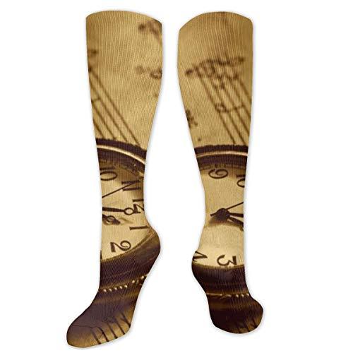 Calcetines de poliéster y algodón por encima de la rodilla, estilo retro, unisex, para muslo, cosplay, botas largas, para deportes, gimnasio, yoga, relojes de notas musicales