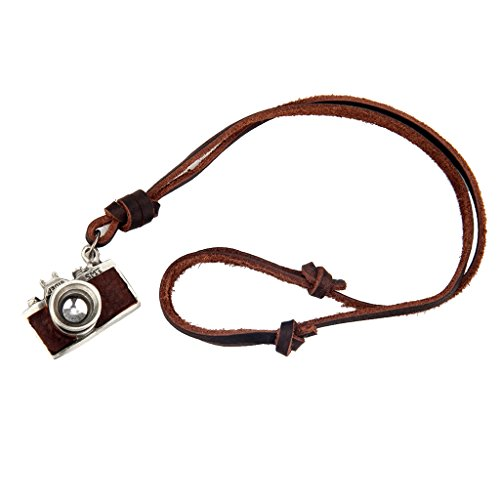 FITYLE Antiguo Negro Marrón Cámara Fotográfica Colgante Collar De Cuero Encantos Joyas - marrón