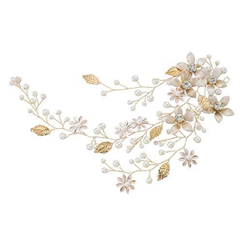 YJ-Print Boho de novia hecho a mano de dama de color rosa y champán cuentas de cristal diadema vid primavera tocado de pelo vid accesorios nupciales vintage boda antigua