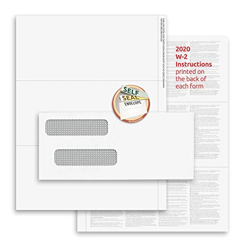 2020 3-Up W-2 Tax Forms (100 Sheets & Self Seal Envelopes) for Laser or Inkjet, 24 lb. Paper, Instructions Printed on The Back, Compatible with QuickBooks and Accounting Software
