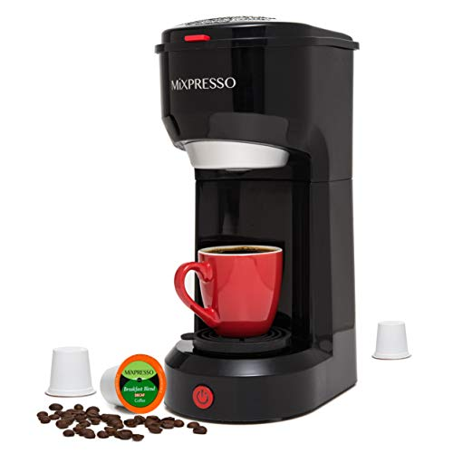 Mixpresso Original Design 2 in 1 Coffee Brewer K-Cup Pods Compatible & Ground Coffee, Personal Coffee Brewer Machine,Compact Size Mini Coffee Maker, Quick Brew Technology (14 oz) (Black)