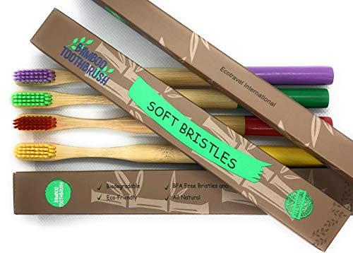 Cepillos de Dientes Bambu - Cepillo de Dientes de Carbón Orgánico Cerdas Medias libre de BPA, Pack 4 Cepillos Madera Biodegradable Ecológicos colores variados