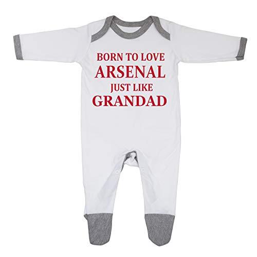 Baby-Schlafanzug mit Aufschrift Born to Love Arsenal Just Like Grandad, hergestellt in Großbritannien aus 100% feingekämmter Baumwolle Gr. 6-12 Monate, White/Grey Trim