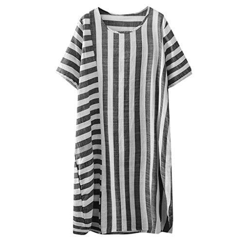 pitashe Plusstorlek damtopp vardaglig bomull linne randig lång skjorta rund hals lös blus toppar kvinnor sommar semester lång t-shirt klänning
