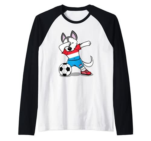 Dabbing Husky Dog Luxemburgo Fútbol - Bandera de Luxemburgo Camiseta Manga Raglan