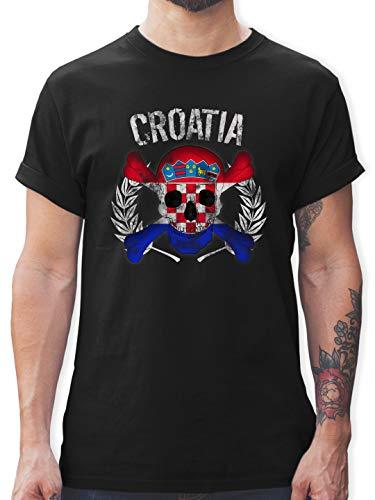 Fußball-Europameisterschaft 2021 - Kroatien WM Totenkopf Croatia - XXL - Schwarz - Tshirt Kroatien männer - L190 - Tshirt Herren und Männer T-Shirts