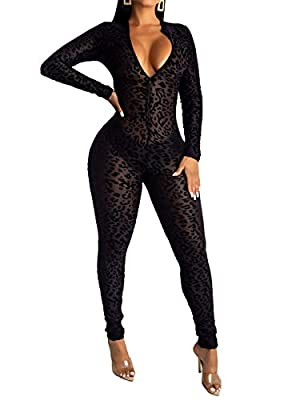 Uni Clau Women See Through Bodycon Jumpsuit - One Piece Deep V Neck Outfits Sheer Mesh Leopard Clubwear Jumpsuit Rompers Black S from