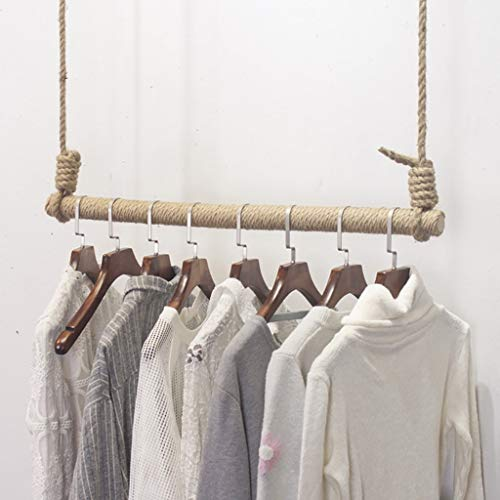 FKDEKUZI Clothes Rail Wall Wood Hoisting with Hemp Rope,wood Clothes Hanging Rod,Clothing Display Garment Rack for Clothing Store (Size : 100cm)