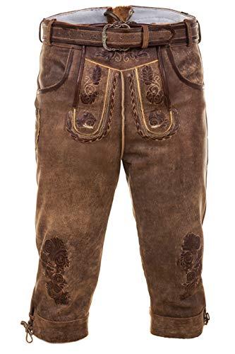 Bayerische Traditionelle Kniebund Lederhose Thomas mit passenden Trachtengürtel Gr. 44-68 (54)