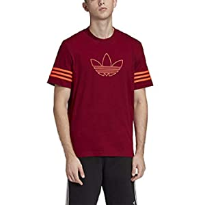 Adidas Outline, T-Shirt Uomo, Burgundy, XS