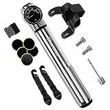 300 PSI Mini Fahrradpumpe mit Manometer für Dämpfer / Reifen, Presta und Schrader Ventile mit Glueless Puncture Repair, Luftpumpe Dämpferpumpen für Rennrad, Mountainbike und BMX