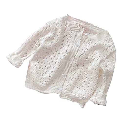 Aiihoo Toddler Baby Girl Clothes Summer Cardigan Top Long Sleeve Buttons Knitted Sweater Cute Bolero Shrug White 6-12 Months