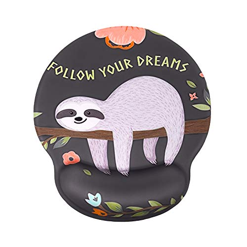 MEGREZ Mouse Pad with Wrist Support, Ergonomic Memory Foam Mousepad Wrist Rest, Mouse Mat with Non Slip Silica Gel Base, Home&Office Pain Relief Easy Typing, Cute Sloth Baby