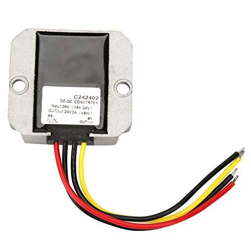 Regulador de transformador de voltaje, a prueba de polvo, impermeable, convertidor elevador de 18-36 V a 24 V, kit de regulador de voltaje, para motor de ventilador, bomba de agua,(2A)