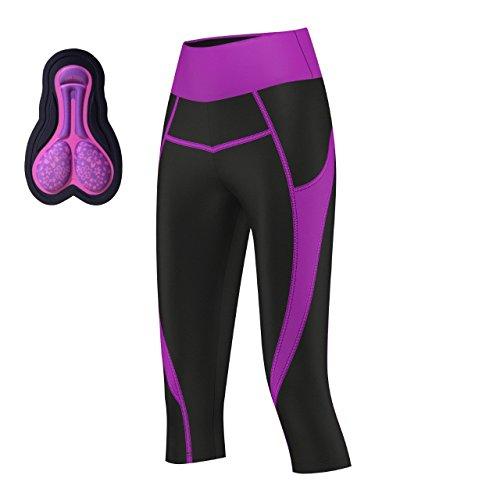 ProAthletica - Mallas acolchadas 3/4 para ciclismo, yoga, gimnasio y ejercicio de fitness (nuevo), Acolchado, Mujer, color magenta, tamaño Small (10-12)waist