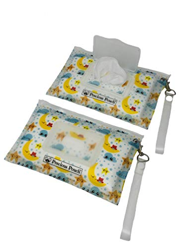 Precious Pouch Best Refillable Wet Wipe Dispensers. Portable, Lightweight and Travel Friendly. (2 Slim Cases, Twinkle Little Star)