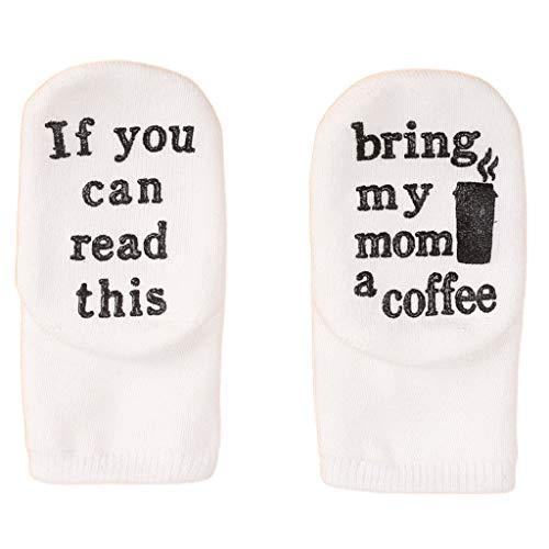 XUNXI Calcetines de bebé, Refranes Divertidos Calcetines de algodón para bebé si Puedes Leer Estas calcetería con Letras de Goma