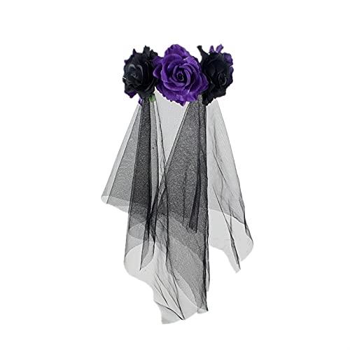 Braut Schleier Fancy Kleid Kostüm Halloween Headwear Party Accessoires Schwarz Rose Blume Haarband (Color : F, Größe : One Size)