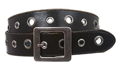 Square Buckle Grommets Vintage Distressed Leather Jean Belt, Black   S 30-32