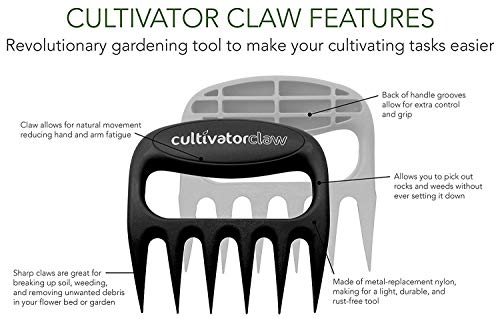 Bear Paws Cultivator Claw - Ergonomic Gardening Tools - Hand Held Garden Tool - Hand Rake - Strong Nylon Weeder - Manual… 5 ERGONOMIC - The Bear Paws Cultivator Claw design allows for natural movement which reduces hand and arm fatigue. Because your fingers are free, picking out rocks and weeds without ever setting it down is a breeze SHARP CLAWS: Great for breaking up soil, weeding and removing unwanted debris in your flower bed or garden DURABLE - Traditional metal hand tools are replaced with our tough and ultra strong nylon. For a durable gardening tool, you can't beat the Cultivator Claw garden tool