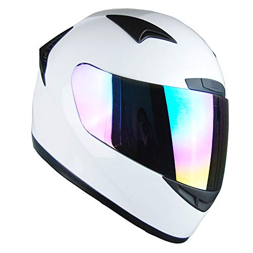 1Storm Motorcycle Bike Full FACE Helmet Booster Glossy White