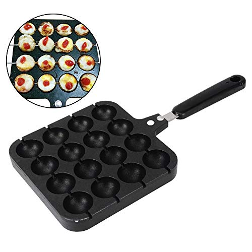 Rubyu Beschichtetes Backblech, Octopus Bälle Backform, Backblech Antihaft für 16 kleine Kuchen mit Loch, mit 4 Backnadeln, Menge: 1 Stück, Schwarz