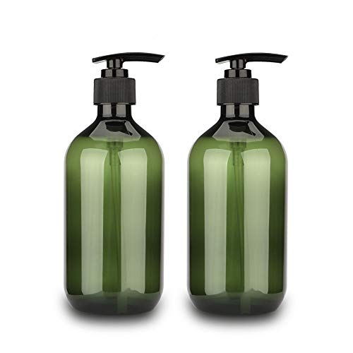 Sdoot Shampoo Bottles with Pump, 17oz Refillable Plastic Soap Dispenser Pump Bottle for Shampoo Conditioner, 2 Pack